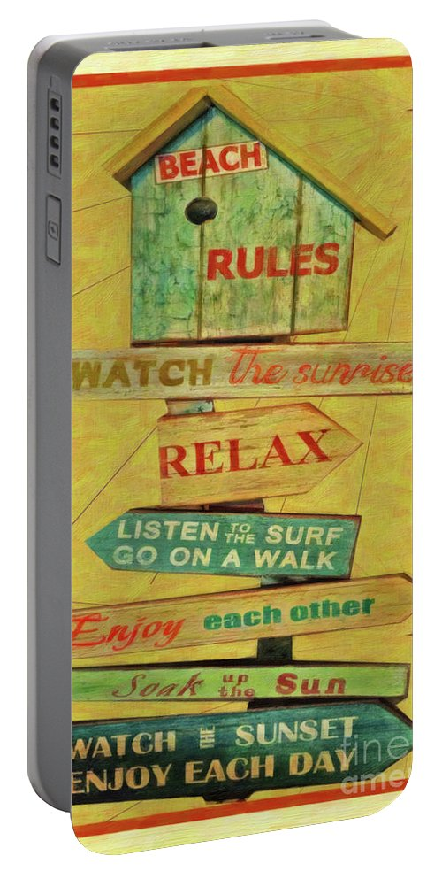 Beach Rules Portable Battery Charger featuring the painting Beach Rules by L Wright