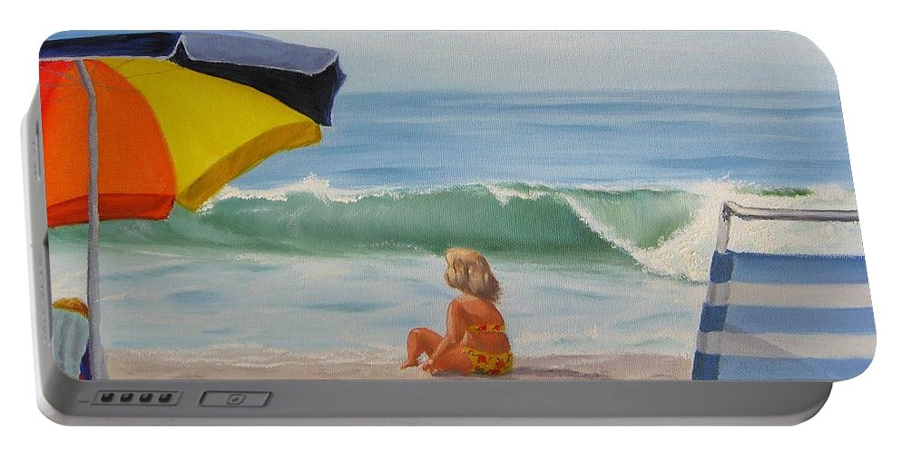 Seascape Portable Battery Charger featuring the painting Beach Scene - Childhood by Lea Novak