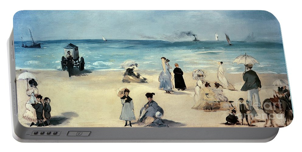 Beach Portable Battery Charger featuring the painting Beach Scene by Edouard Manet