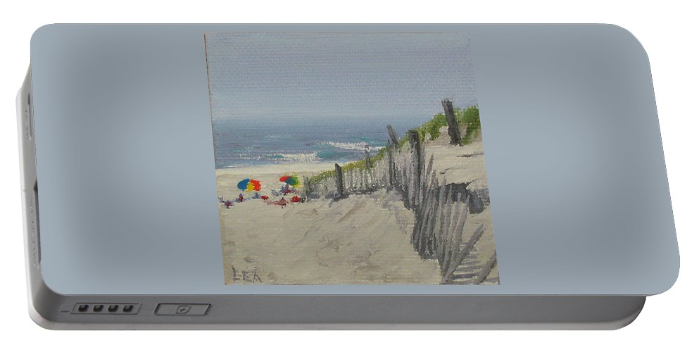 Beach Portable Battery Charger featuring the painting Beach Scene Miniature by Lea Novak