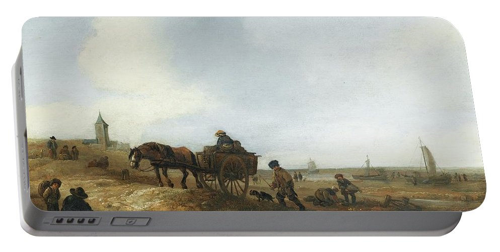 Isaac Van Ostade ; Beach Scene With Fishermen Portable Battery Charger featuring the painting Beach Scene With Fishermen by MotionAge Designs