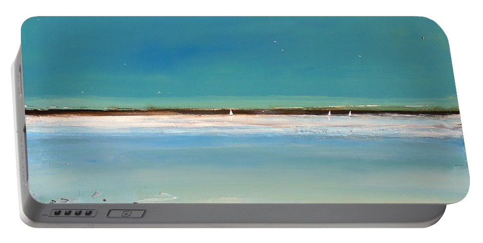 Landscape Portable Battery Charger featuring the painting Beach Textures by Toni Grote