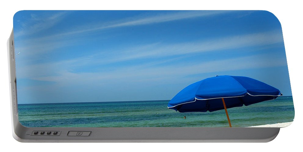 Beach Scenes Portable Battery Charger featuring the photograph Beach Umbrella by Susanne Van Hulst