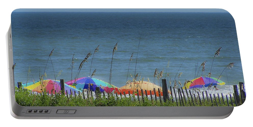 Beach Portable Battery Charger featuring the photograph Beach Umbrellas by Teresa Mucha
