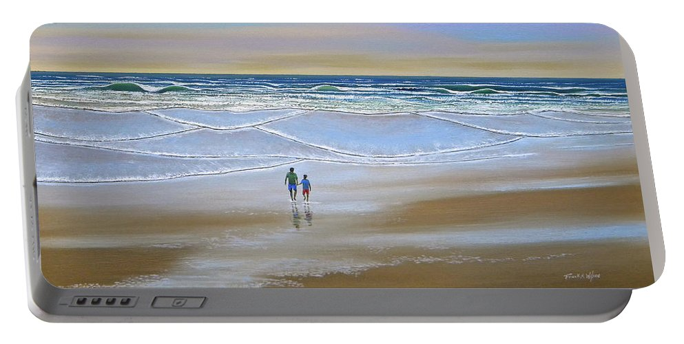 Beach Portable Battery Charger featuring the painting Beach Walk by Frank Wilson