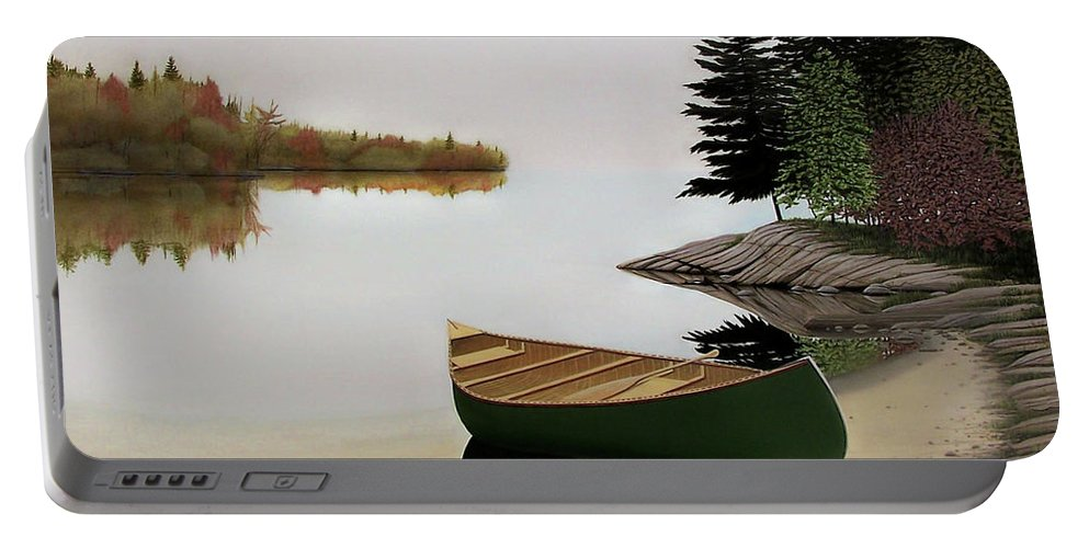 Canoe Paintings Portable Battery Charger featuring the painting Beached Canoe In Muskoka by Kenneth M Kirsch