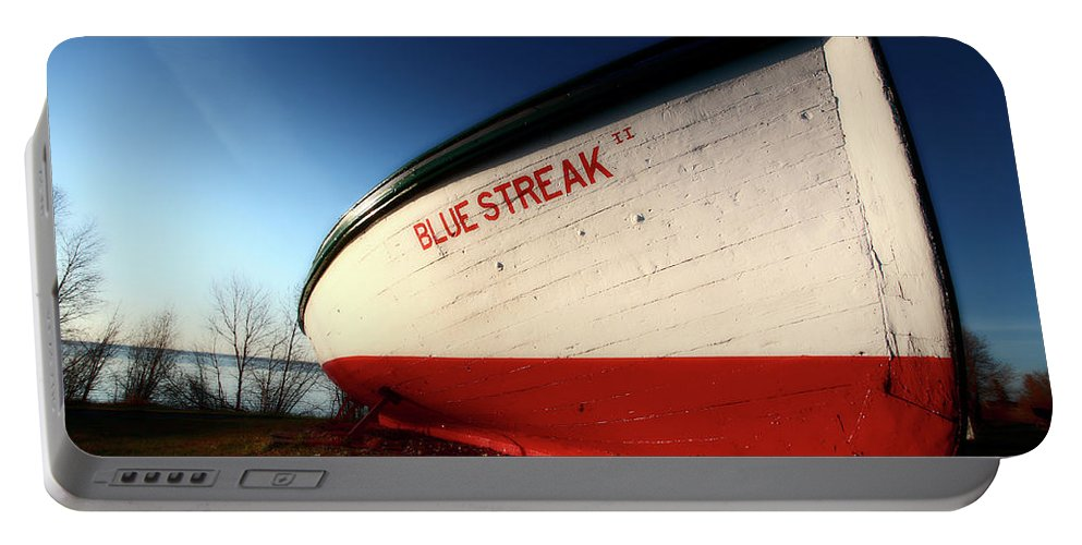 Fine Art Portable Battery Charger featuring the digital art beached fishing boat at Hecla on Lake Winnipeg by Mark Duffy