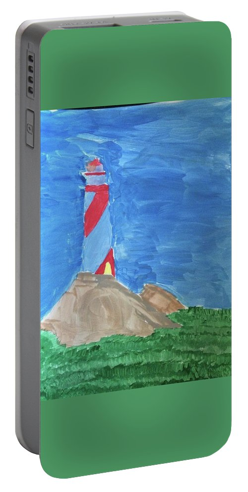 Landscape Portable Battery Charger featuring the painting Beacon In Te Field by Thom Futrell