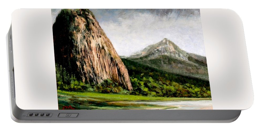 Landscape Portable Battery Charger featuring the painting Beacon Rock Washington by Jim Gola