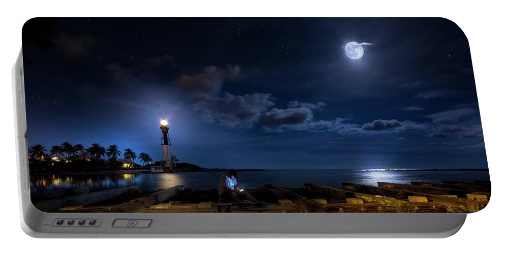 Lighthouse Portable Battery Charger featuring the photograph Beacons Of The Night by Mark Andrew Thomas