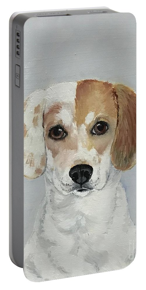 Beagle Portrait Portable Battery Charger featuring the painting Beagle by Boni Arendt