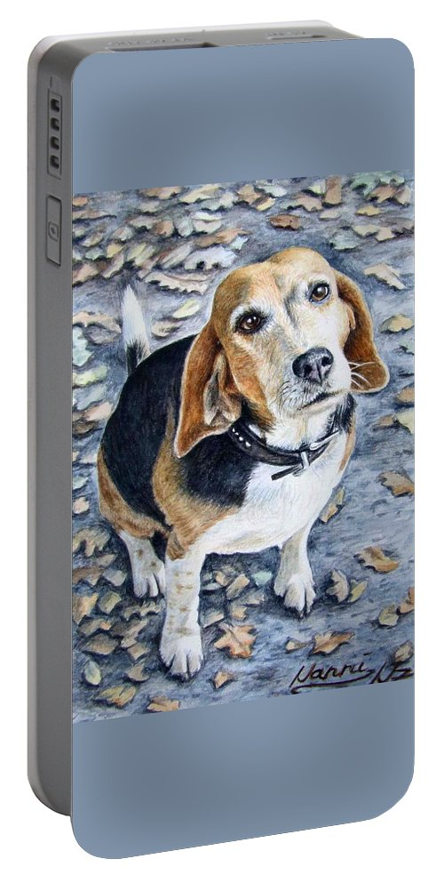 Dog Portable Battery Charger featuring the painting Beagle Nanni by Nicole Zeug