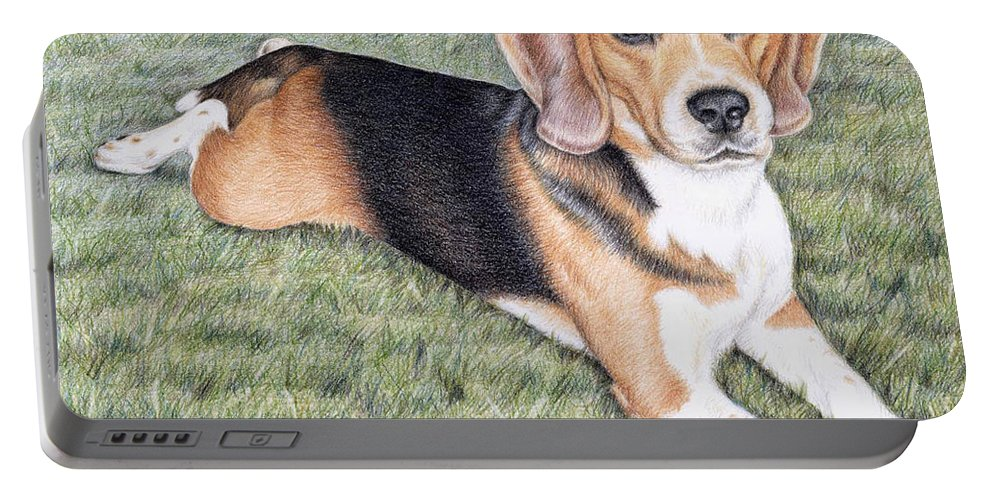 Dog Portable Battery Charger featuring the drawing Beagle by Nicole Zeug