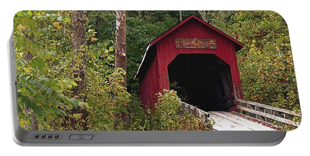 Covered Bridge Portable Battery Charger featuring the photograph Bean Blossom Bridge I by Margie Wildblood