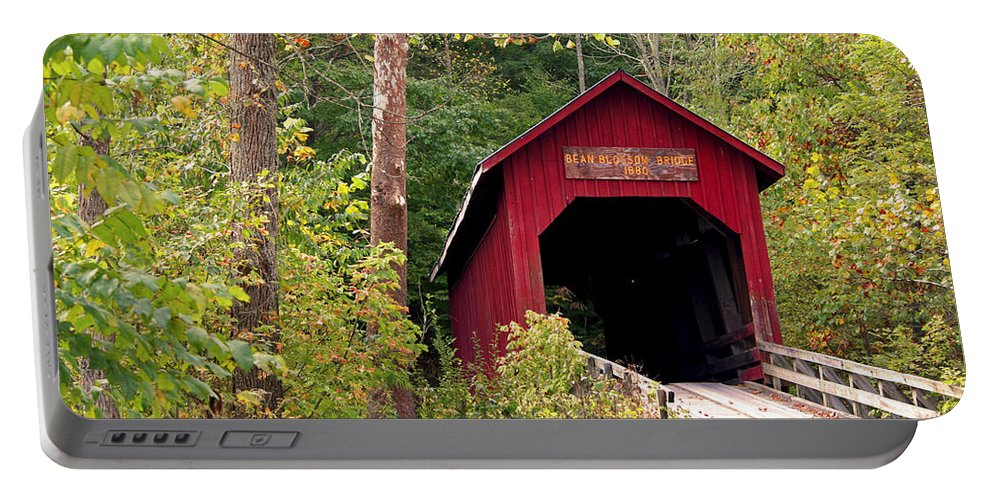 Covered Bridge Portable Battery Charger featuring the photograph Bean Blossom Bridge II by Margie Wildblood
