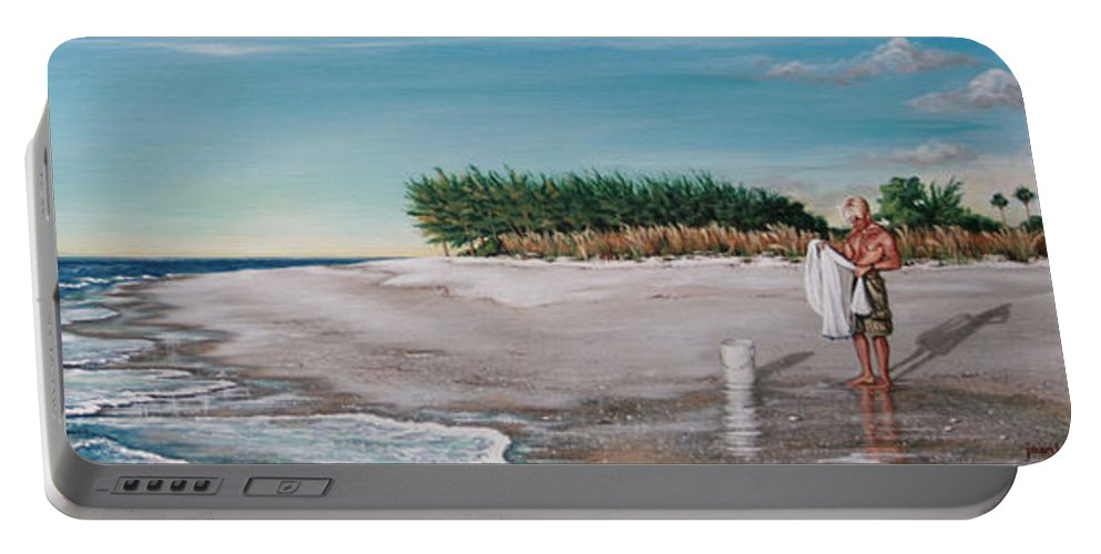 Beach Portable Battery Charger featuring the painting Bean Point by Joan Garcia