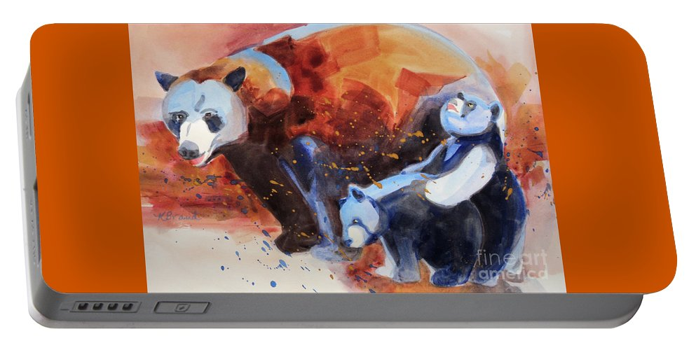 Paintings Portable Battery Charger featuring the painting Bear Family Outing by Kathy Braud