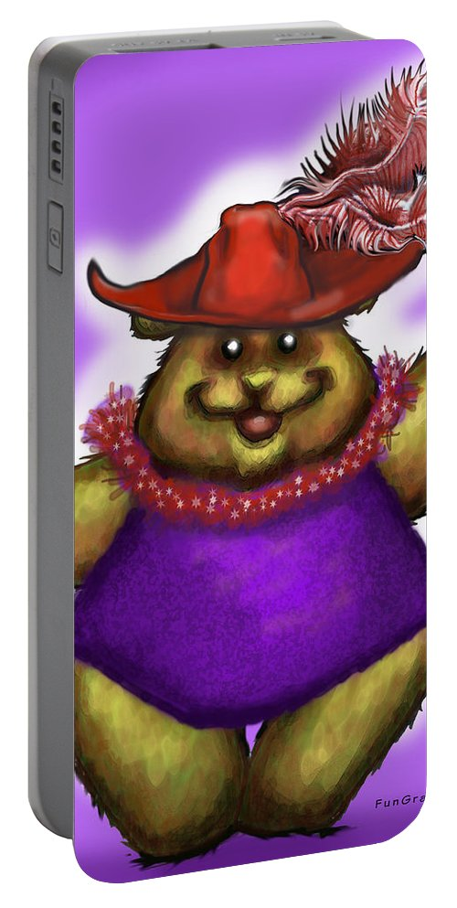 Red Hat Portable Battery Charger featuring the greeting card Bear In Red Hat by Kevin Middleton