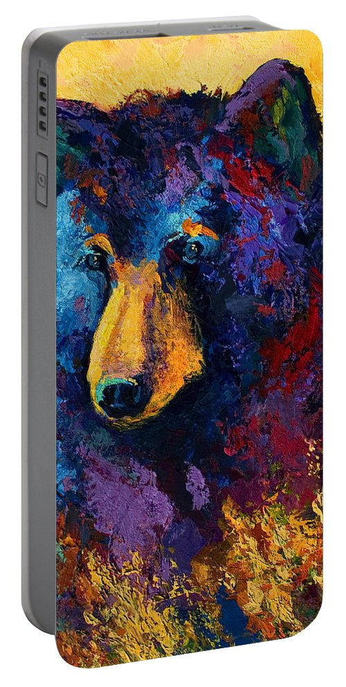 Bear Portable Battery Charger featuring the painting Bear Pause - Black Bear by Marion Rose