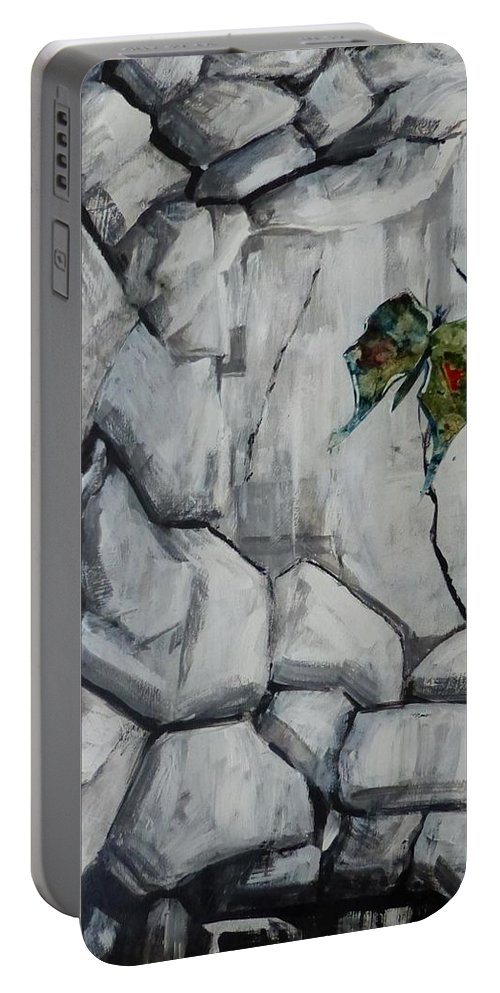 Acrylic Collage Abstract Portable Battery Charger featuring the painting Bear Peak Giant by Monique Gray