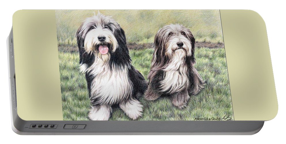 Dogs Portable Battery Charger featuring the drawing Bearded Collies by Nicole Zeug