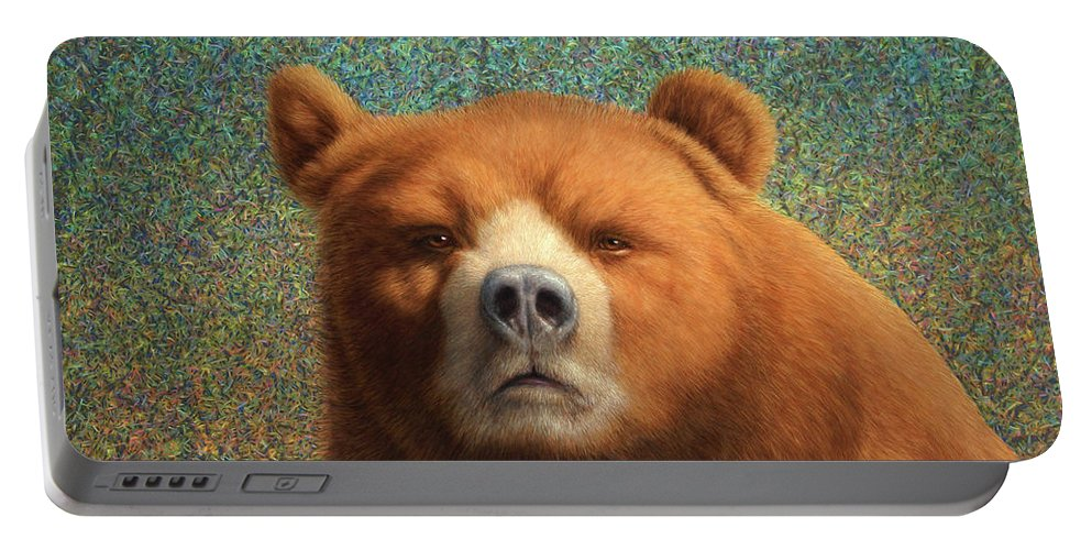 Bear Portable Battery Charger featuring the painting Bearish by James W Johnson