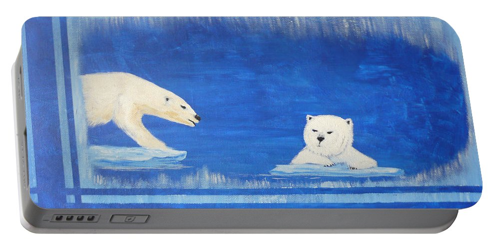 Polar Bear Portable Battery Charger featuring the painting Bears In Global Warming by Monika Shepherdson