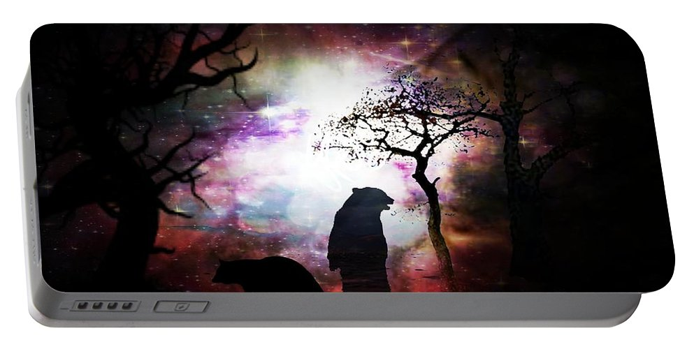 Bears Night Out Portable Battery Charger featuring the digital art Bears Night Out by Maria Urso