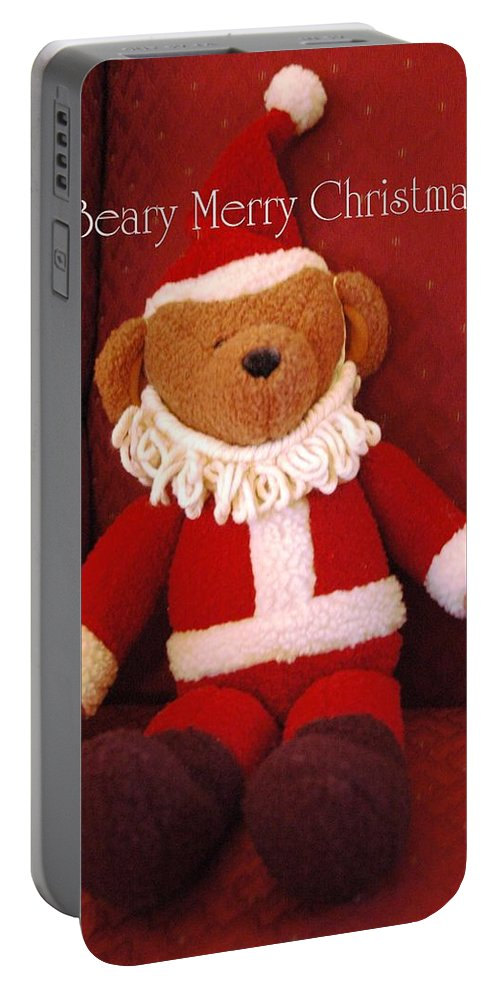 Bear Portable Battery Charger featuring the photograph Beary Merry Christmas by Linda Covino
