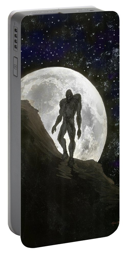 Beast Portable Battery Charger featuring the painting Beast At Full Moon by Kevin Middleton