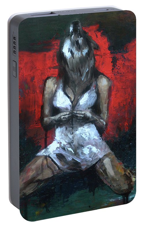Wolf Portable Battery Charger featuring the painting Beast II by Melissa Peterson