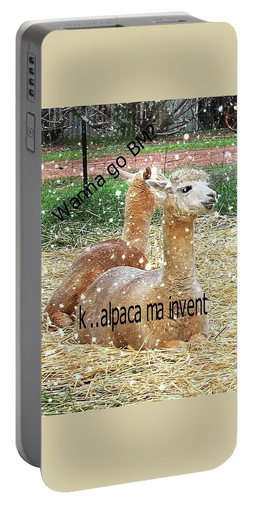 Alpacas Portable Battery Charger featuring the digital art Beast Master Meme by Lethal Lulu
