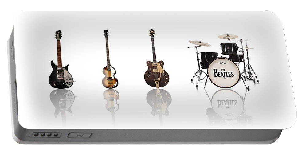 The Beatles Portable Battery Charger featuring the digital art Beat of Beatles by Deer Devil Designs