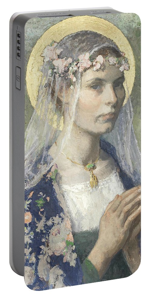 American Art Portable Battery Charger featuring the painting Beate Maria by Gari Melchers