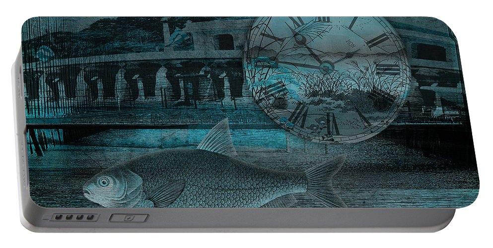 Clock Portable Battery Charger featuring the digital art Beating The Blues by Sarah Vernon