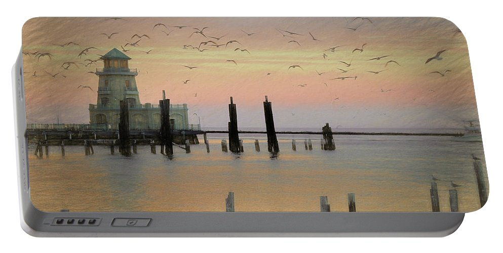 Beau Rivage Lighthouse Portable Battery Charger featuring the photograph Beau Rivage Lighthouse And Marina by Scott Cameron