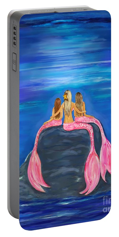 Mermaid Portable Battery Charger featuring the painting Beauties On The Rock by Leslie Allen