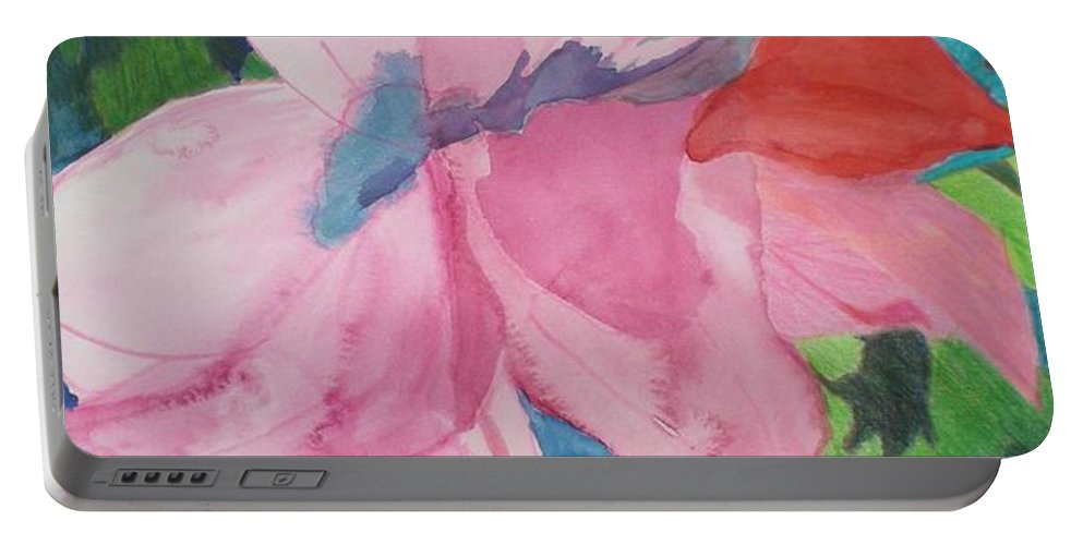 Flower Portable Battery Charger featuring the painting Beautiful Azalea by Hal Newhouser
