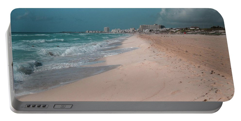 Beach Portable Battery Charger featuring the digital art Beautiful beach in Cancun, Mexico by Nicolas Gabriel Gonzalez