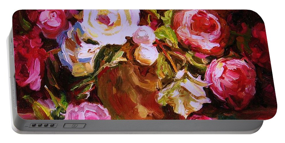 Roses Portable Battery Charger featuring the painting Beautiful Bouquet by Carole Spandau