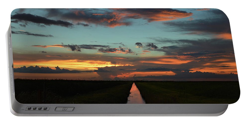Delray Portable Battery Charger featuring the photograph Beautiful Canal Sunset In Florida by Ken Figurski