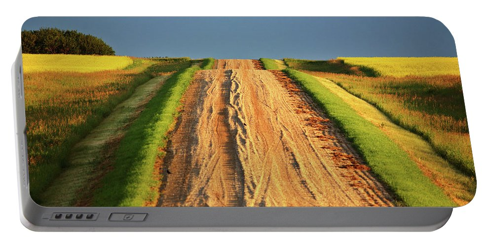 Dark Portable Battery Charger featuring the digital art Beautiful Colors Along A Saskatchewan Country Road by Mark Duffy