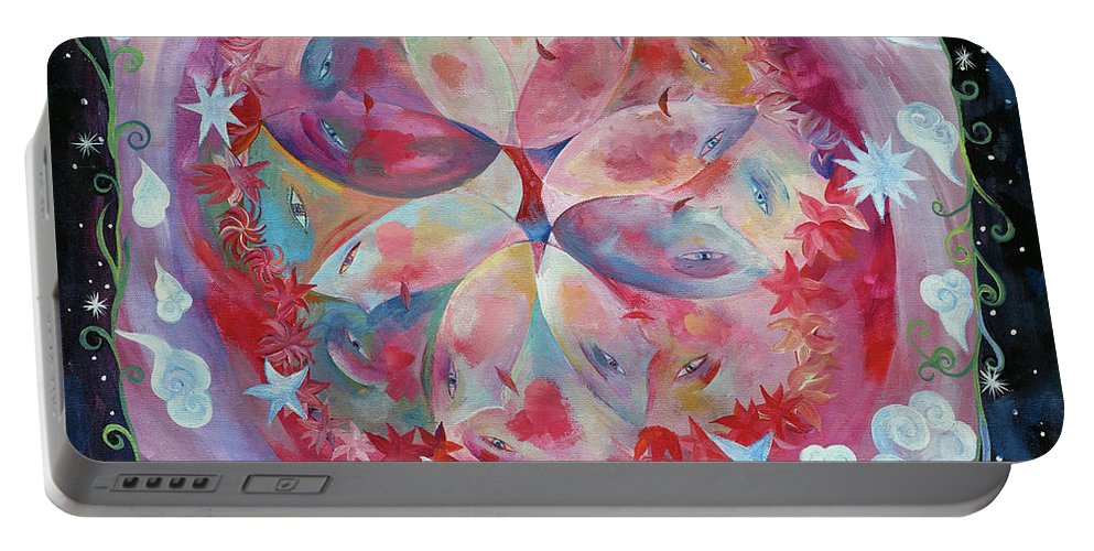 Beautiful Portable Battery Charger featuring the painting Beautiful Friends by Manami Lingerfelt