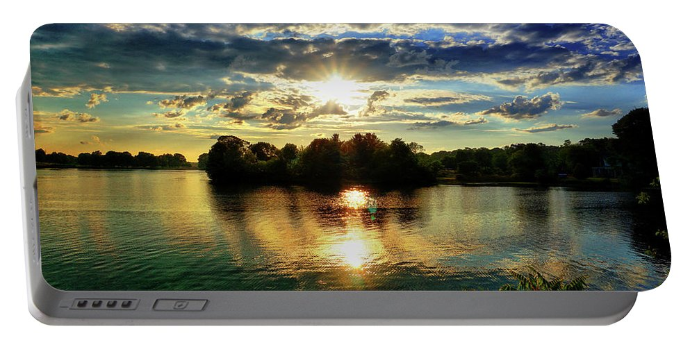 Sunset Portable Battery Charger featuring the digital art Beautiful Light Of The Golden Hour by Lilia D
