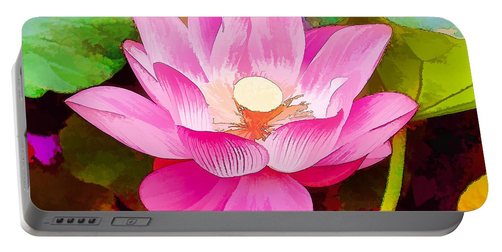 Two Lotus Color Purple Portable Battery Charger featuring the painting Beautiful Pink Lilies by Jeelan Clark