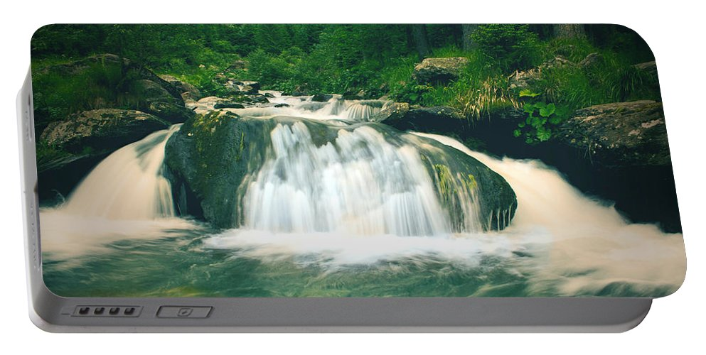 Mountain Portable Battery Charger featuring the photograph Beautiful River Flowing In Mountain Forest by Sandra Rugina
