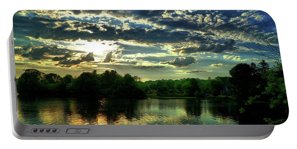 Sunset Portable Battery Charger featuring the digital art Beautiful Scene Before Sunset by Lilia D