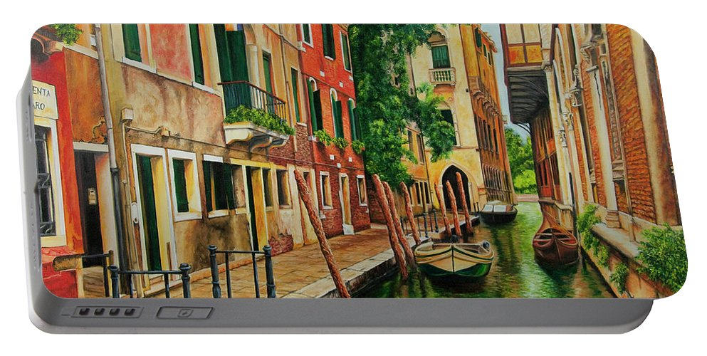 Venice Canal Portable Battery Charger featuring the painting Beautiful Side Canal In Venice by Charlotte Blanchard