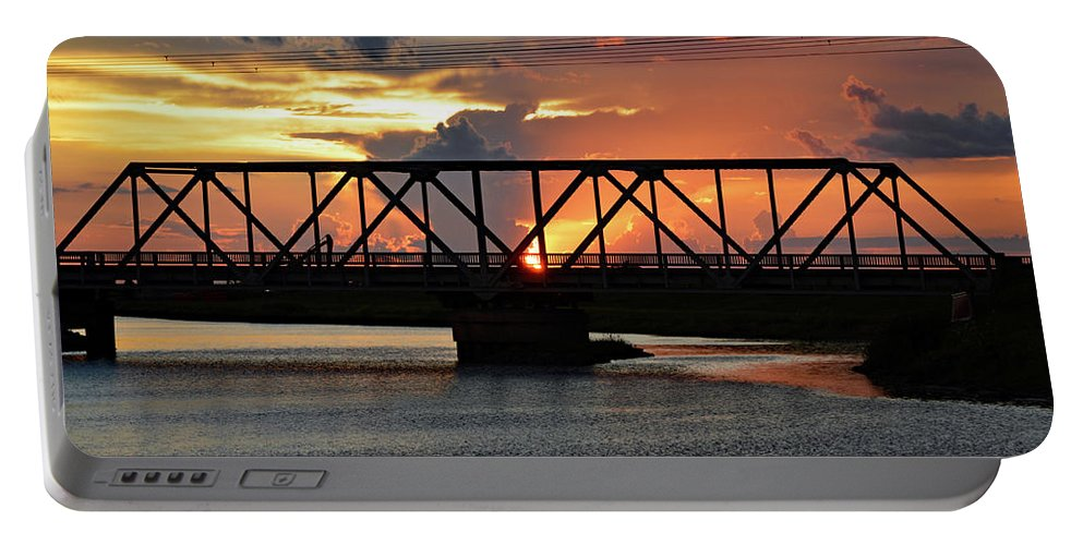 Delray Portable Battery Charger featuring the photograph Beautiful Sunset Bridge by Ken Figurski