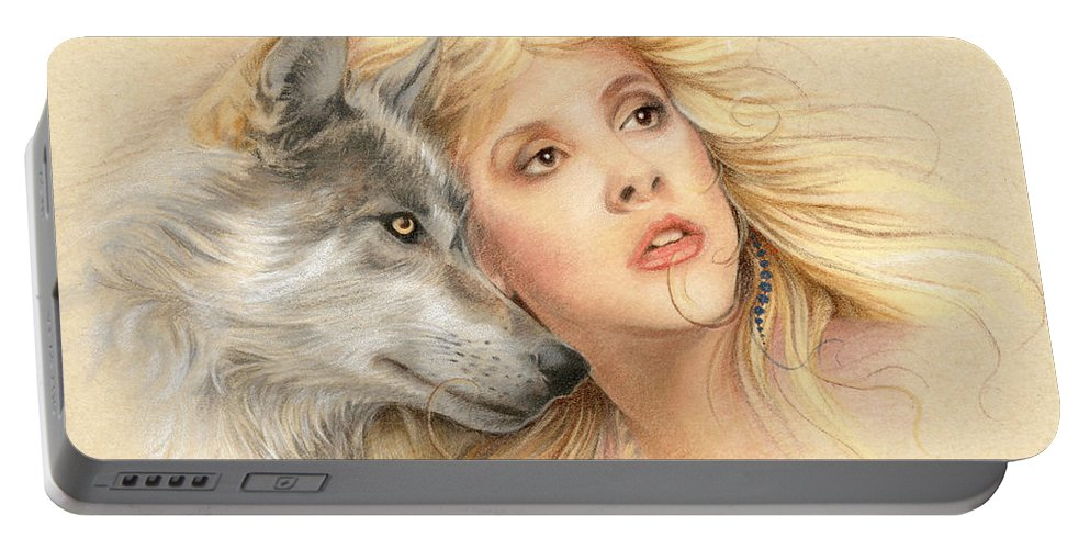 Stevie Nicks Portable Battery Charger featuring the drawing Beauty And The Beast by Johanna Pieterman